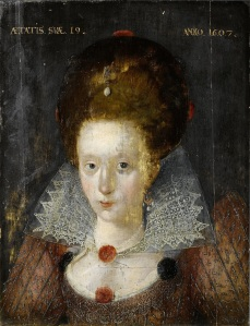 English School 1607 Portrait of a Lady aged 19 (?Lady Mary Wroth 1587 - 1651/3)