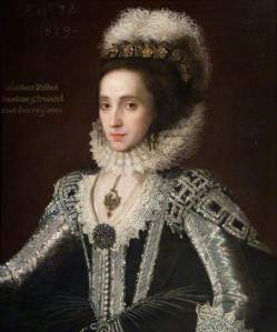 Attributed here to Robert Peake the elder (?1551 - 1619) Portrait of Lady Alathea Talbot Countess of Arundel (c) Ingestre Hall Residential Arts Centre; Supplied by The Public Catalogue Foundation