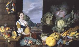Cookmaid with Still Life of Vegetables and Fruit circa 1620-5 by Sir Nathaniel Bacon 1585-1627