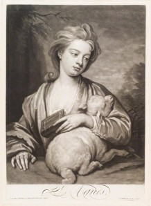 NPG D11726; Catherine (nÈe Kneller) Huckle as St Agnes by and published by John Smith, after  Sir Godfrey Kneller, Bt