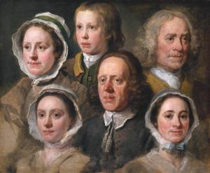 Heads of Six of Hogarth's Servants c.1750-5 by William Hogarth 1697-1764