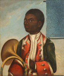 'John Meller's Black Coachboy' (painted over an early 18th century portrait of John Hanby, aged 25) by British (English) School