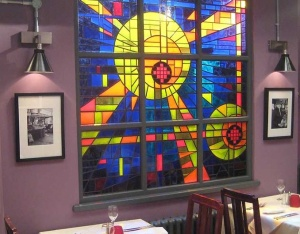Stained glass at Beale's restaurant