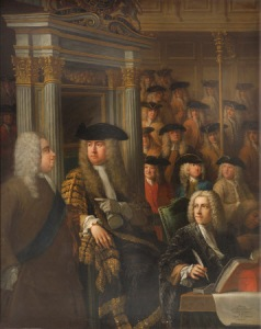 Speaker Arthur Onslow calling upon Sir Robert Walpole to speak in the House of Commons by Sir James Thornhill (Melcombe Regis 1675 - Stalbridge 1734) and William Hogarth (London 1697 - London 1764)