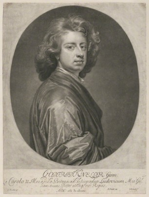 NPG D36898; Sir Godfrey Kneller, Bt by Isaac Beckett, published by  John Smith, after  Sir Godfrey Kneller, Bt