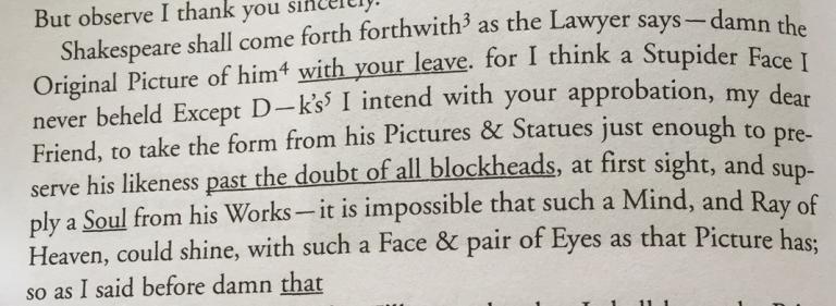 BP Gainsborough Shakespeare letter