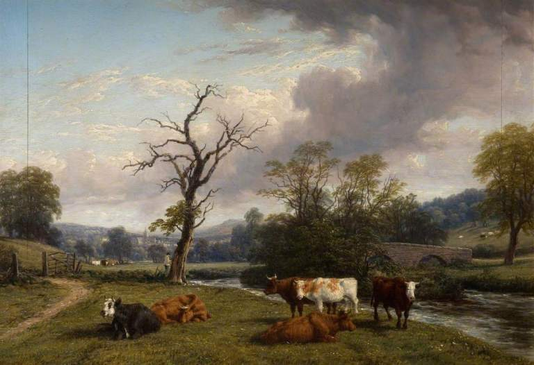 Baker, Thomas, 1809-1869; Landscape and Cattle near Offchurch, Warwickshire