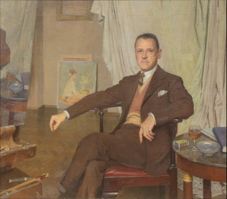American C20th 'Portrait of a man having his portrait painted.'